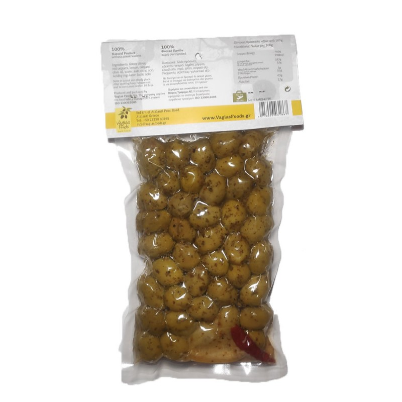 Green olives Halkidiki with red pepper and lemon Oileas 250gr
