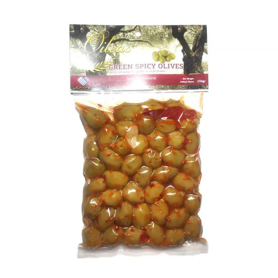 Green olives Halkidiki with red hot pepper Oileas 250gr